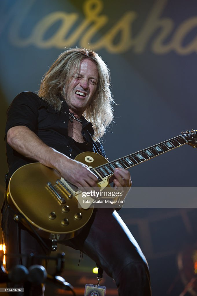 American guitarist Doug Aldrich performing live onstage during the Marshall 50 Years of Loud Live anniversary concert at the Wembley Arena, September 22, 2012.