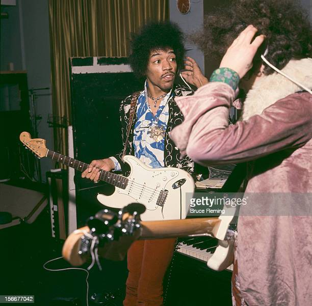 American guitarist Jimi Hendrix and bassist Noel Redding of The Jimi Hendrix Experience in a London recording studio October 1967