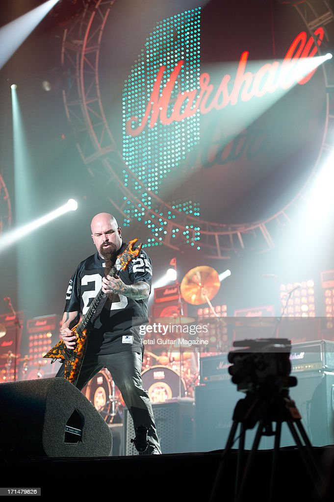 American guitarist Kerry King performing live onstage during the Marshall 50 Years of Loud Live anniversary concert at the Wembley Arena, September 22, 2012.