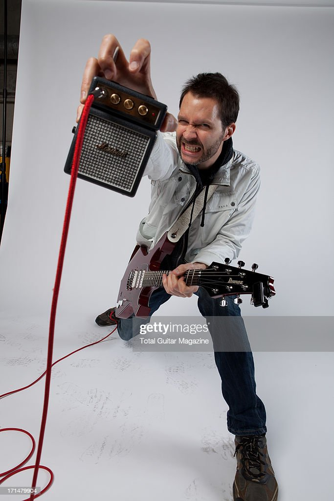 American guitarist Paul Gilbert photographed during a portrait shoot backstage at the Marshall 50 Years of Loud Live anniversary concert, September 22, 2012.