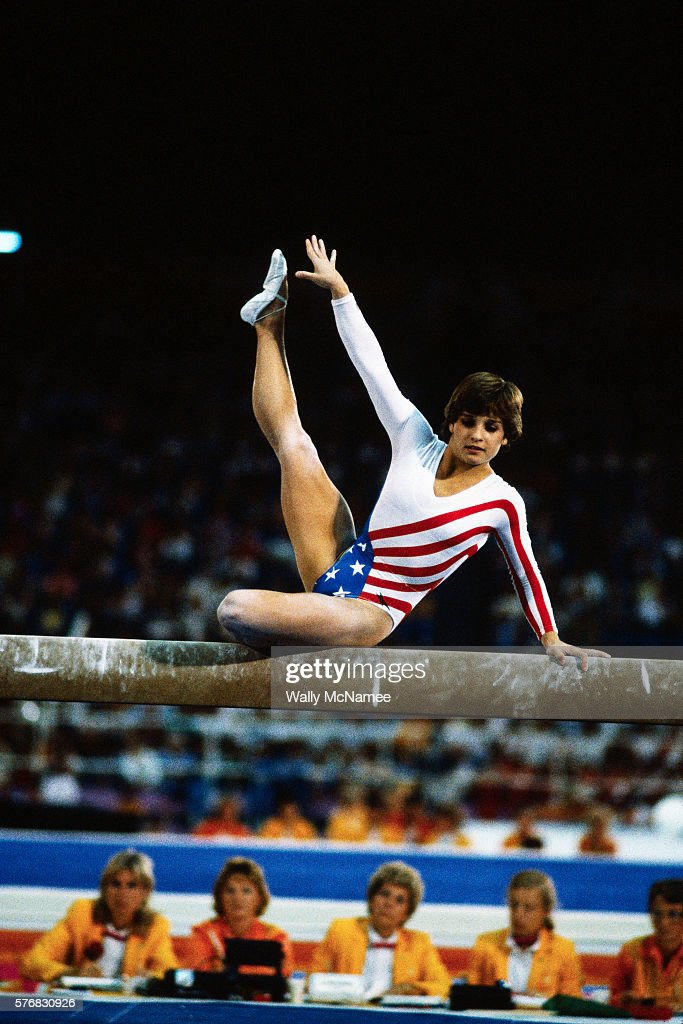 American gymnast Mary Lou Retton performs on the balance beam during the finals of the women's gymnastic team event at the 1984 Los Angeles Summer Olympic Games in Los Angeles, California.