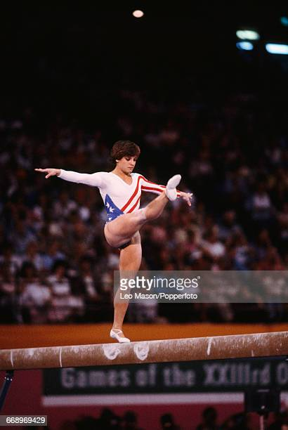 American gymnast Mary Lou Retton pictured in action on the balance beam during competition in the Women's artistic individual allaround event at the...
