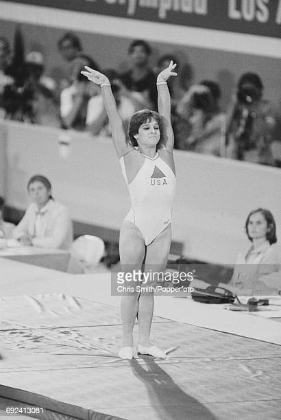 American gymnast Mary Lou Retton pictured landing during competition to finish in 2nd place to win the silver medal in the Women's vault event at the...