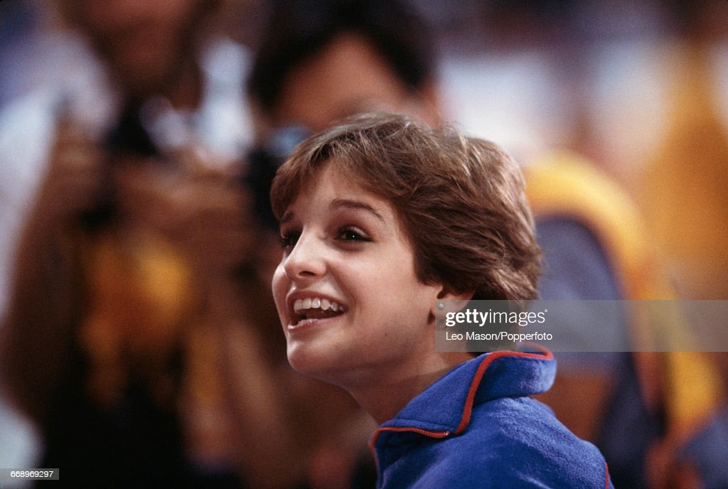 American gymnast Mary Lou Retton smiles after finishing in first place to win the gold medal in the Women's artistic individual all-around event at the 1984 Summer Olympics inside the Pauley Pavilion in Los Angeles, United States on 3rd August 1984.