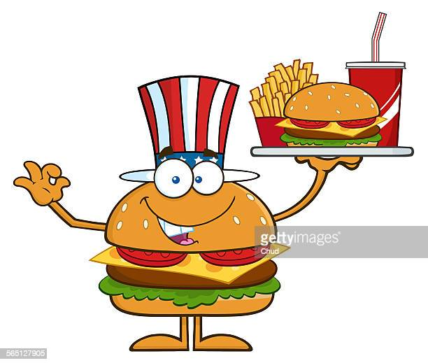 American Hamburger Holding A Platter With Burger