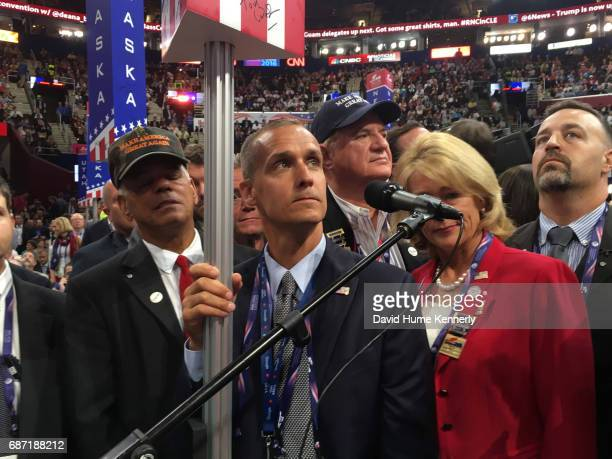 American Head of New Hampshire delegation and former Trump campaign manager Corey Lewandowski announces his delegation's vote from the floor during...