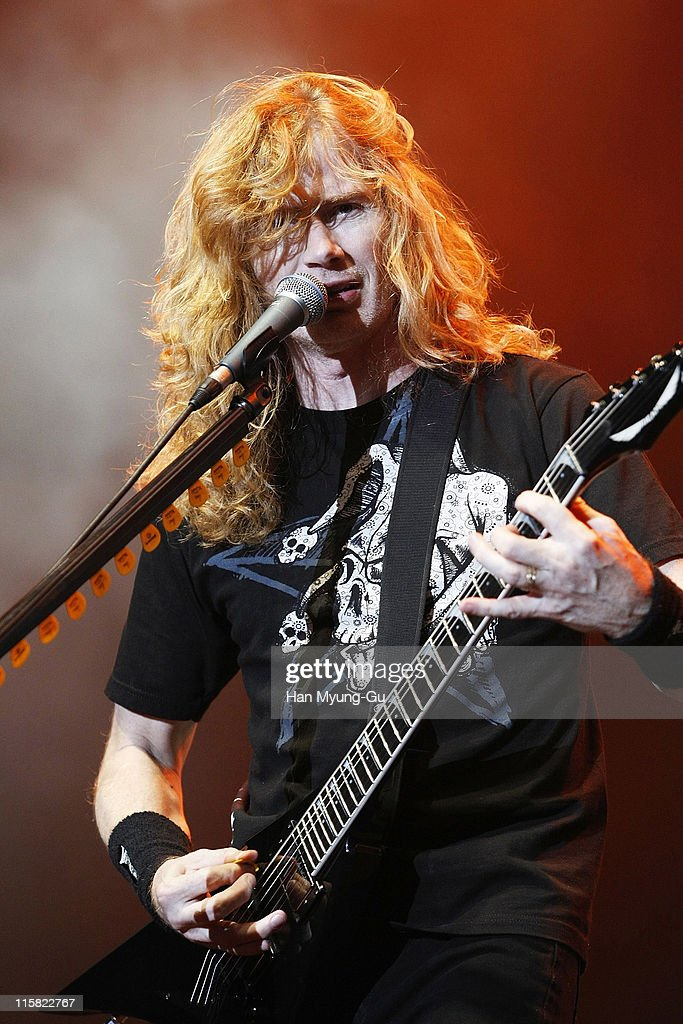 American heavy metal band Megadeth performs live at Olympic Hall on October 28 in Seoul South Korea