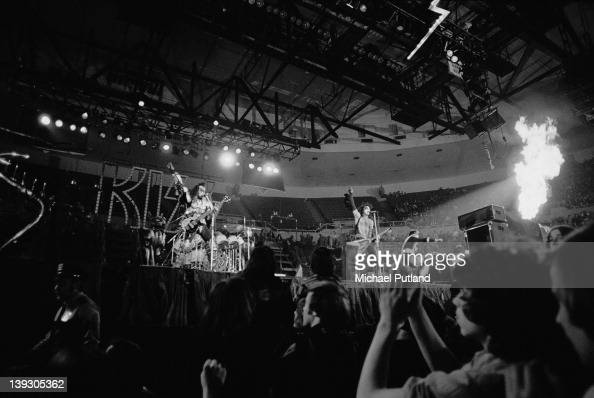 American heavy metal group Kiss performing at the Nassau Coliseum Uniondale New York 21st February 1977 Left to right Gene Simmons Paul Stanley and...