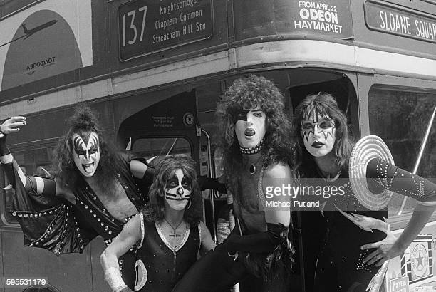 American heavy metal group Kiss posing on a double decker bus London 10th May 1976 The band are in London for their first UK appearances Left to...