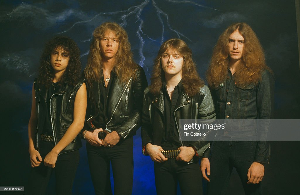 American heavy metal group Metallica, UK, 1985. Left to right: lead guitarist <a gi-track='captionPersonalityLinkClicked' href=/galleries/search?phrase=Kirk+Hammett&family=editorial&specificpeople=204665 ng-click='$event.stopPropagation()'>Kirk Hammett</a>, singer and guitarist <a gi-track='captionPersonalityLinkClicked' href=/galleries/search?phrase=James+Hetfield&family=editorial&specificpeople=178297 ng-click='$event.stopPropagation()'>James Hetfield</a>, drummer <a gi-track='captionPersonalityLinkClicked' href=/galleries/search?phrase=Lars+Ulrich&family=editorial&specificpeople=209281 ng-click='$event.stopPropagation()'>Lars Ulrich</a> and bassist Cliff Burton.
