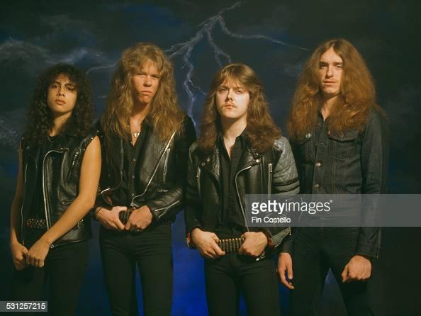 American heavy metal group Metallica UK 1985 Left to right lead guitarist Kirk Hammett singer and guitarist James Hetfield drummer Lars Ulrich and...