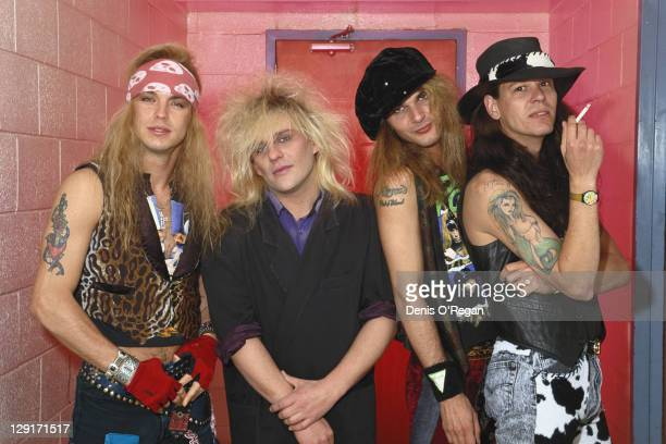 American heavy metal group Poison circa 1990 Left to right singer Bret Michaels guitarist CC DeVille drummer Rikki Rockett and bassist Bobby Dall