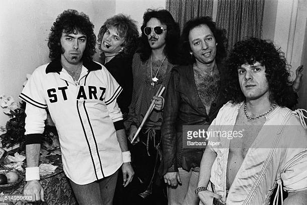 American heavy metal group Starz backstage at the Paradise Theater in Boston Massachusetts 22nd March 1978 Left to right guitarist Brendan Harkin...