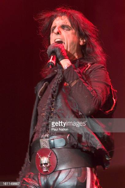 American heavy metal singer Alice Cooper performs on the Skyline Stage at Navy Pier Chicago Illinois July 13 2004