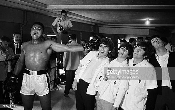 American heavyweight boxer Cassius Clay takes on the Beatles in Miami during the runup to his title fight against Sonny Liston 22nd February 1964
