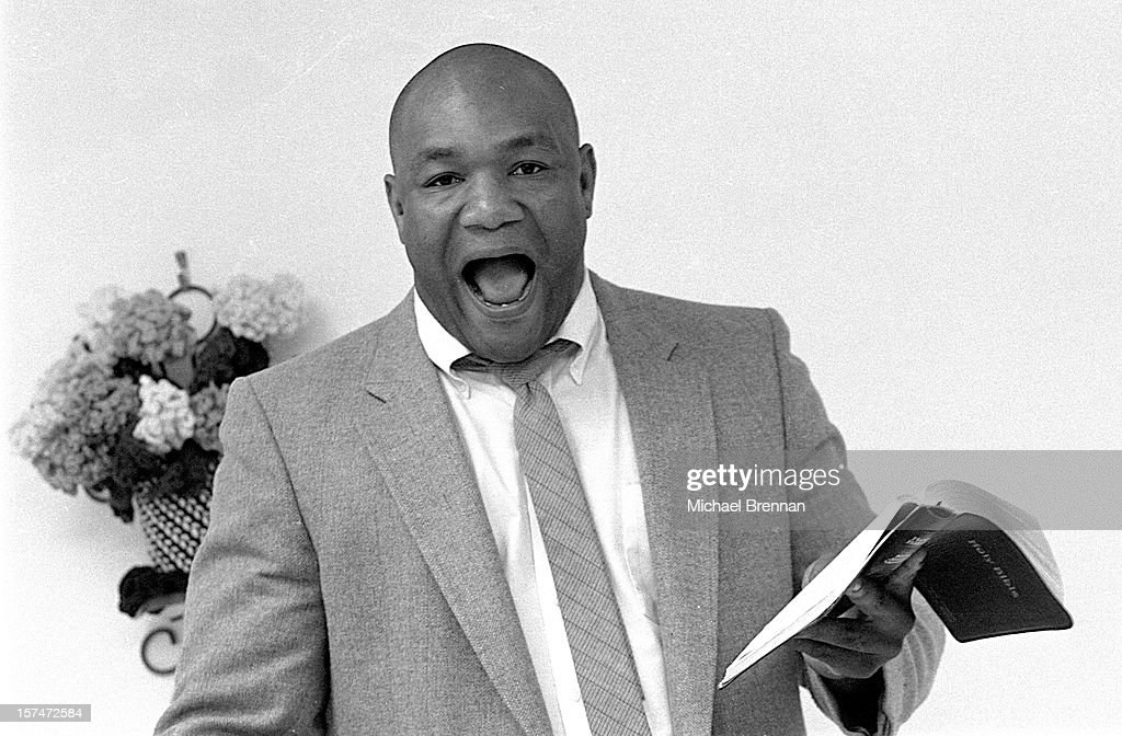 American heavyweight boxer George Foreman preaching to his congregation at The Church Of The Lord Jesus Christ on Lone Oak Road in Houston, Texas, February 1995. Foreman became a born-again Christian and ordained minister in 1977.