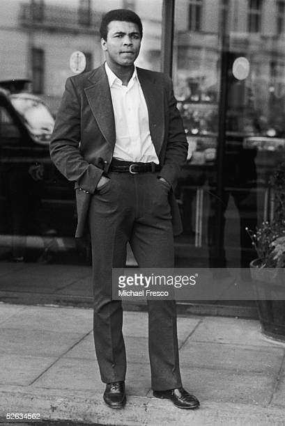 American heavyweight boxing champion Muhammad Ali wearing a smart suit and a thoughtful expression 4th January 1972
