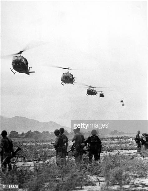American helicopters carry reinforcement troops to the battlefield of An Khe south Vietnam 25 September 1965