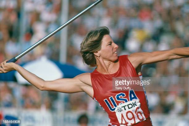 American heptathlete Jane Frederick competing in the javelin event at the World Championships in Athletics at the Olympic Stadium Helsinki Finland...