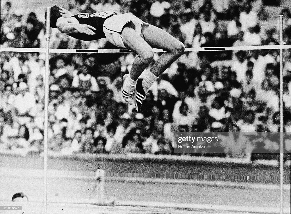 American high jumper Dick Fosbury clears the bar and sets an Olympic record of 7 - 4 1/4, Mexico City, Mexico, late October 1968. His technique, known as the Fossbury Flop, became the standard for high jumpers.