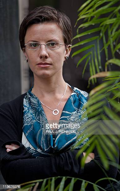 American hiker Sarah Shourd poses for a photo at AFP offices May 4 in Washington DC Shourd one of three US hikers arrested by Iran in 2009 on...