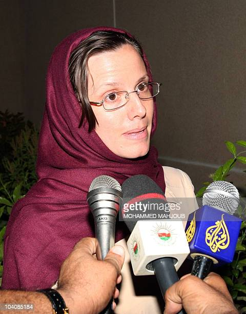 American hiker Sarah Shourd who was released by Iran after more than 13 months in detention speaks to the press upon her arrival at the Omani capital...