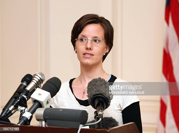 American hiker Sarah Shourd who was released on bail from an Iranian prison on September 14 speaks to the press on September 18 2010 in Muscat prior...