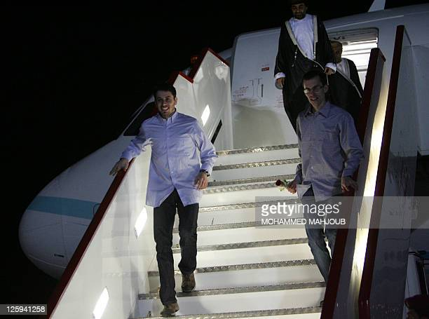 American hikers Shane Bauer and Josh Fattal step off an Omani Royal Air Force planeon September 21 2011 in Muscat Oman after Tehran released them on...