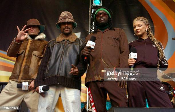 American Hip Hop group The Black Eyed Peas seen on the MTV TRL UK show in Camden London hl120903
