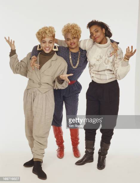 American hip hop trio SaltnPepa circa 1990 They are Cheryl James Sandra Denton and DJ Spinderella