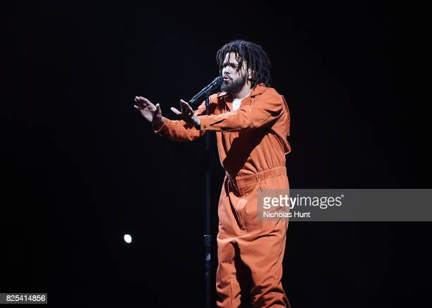 American hiphop artist J Cole performs at Barclays Center of Brooklyn on August 1 2017 in the Brooklyn borough of New York City