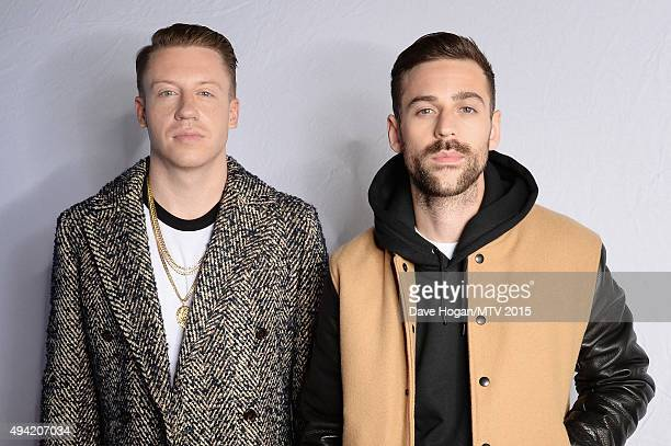 American hiphop duo Macklemore and Ryan Lewis pose for a portrait before the MTV EMA's at the Mediolanum Forum on October 25 2015 in Milan Italy