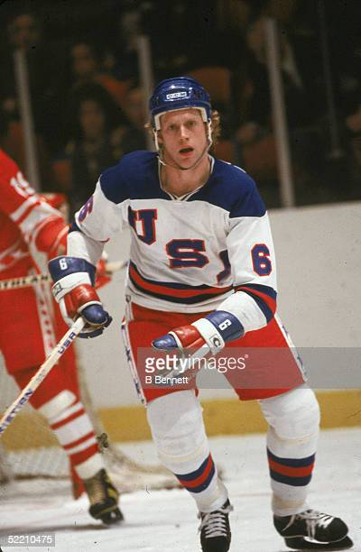 American hockey player Bill Baker of Team USA skates on the ice during an exhibition game against the Soviet Union on February 9 1980 at Madison...