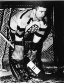 American hockey player Frank Brimsek of the Boston Bruins guards the net 1940s
