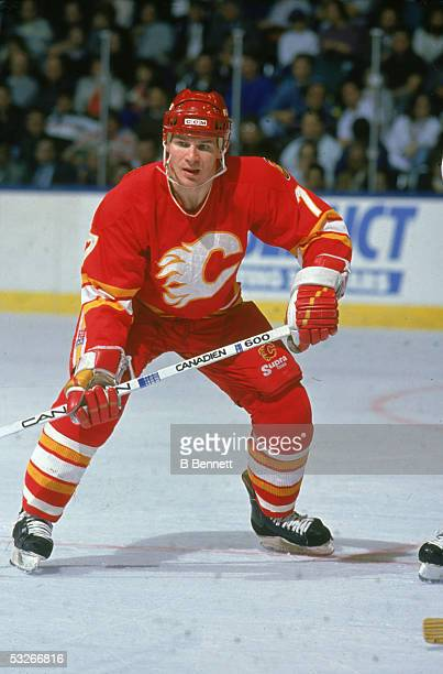 American hockey player Joe Mullen of the Calgary Flames on the ice during a game 1980s