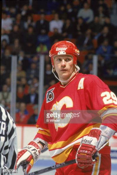 American hockey player Joel Otto of the Calgary Flames on the ice during a game January 1992