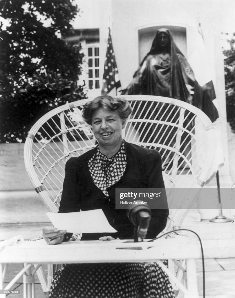 American humanitarian and wife of President Franklin Delano Roosevelt, <a gi-track='captionPersonalityLinkClicked' href=/galleries/search?phrase=Eleanor+Roosevelt&family=editorial&specificpeople=93348 ng-click='$event.stopPropagation()'>Eleanor Roosevelt</a> (1882 - 1962) making an address at the headquarters of the American Red Cross at Washington DC appealing for donations to a Red Cross War Relief drive.