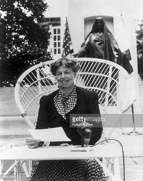 American humanitarian and wife of President Franklin Delano Roosevelt Eleanor Roosevelt making an address at the headquarters of the American Red...