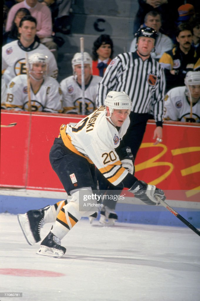 American ice hockey player Bryan Smolinski of the Boston Bruins skates past his team's bench during a game against the Montreal Canadiens Montreal...