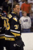 American ice hockey player Tom Barrasso goalkeeper for the Pittsburgh Penguins skates on the ice October 1995