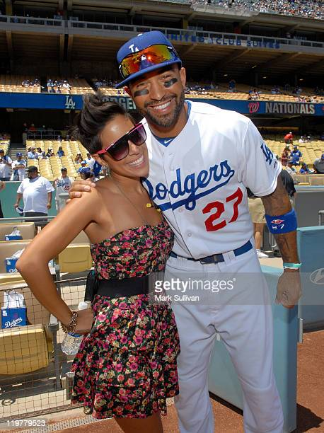 American Idol alum Ashley Rodriguez poses with LA Dodger player Matt Kemp before singing the National Anthem at Dodger Stadium on July 24 2011 in Los...