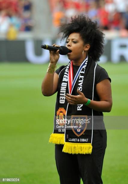 American Idol contestant Bri Ray performs the National Anthem prior to the International friendly game between Manchester United and Real Salt Lake...
