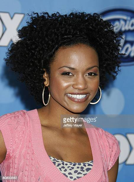 American Idol contestant Syesha Mercado attends the American Idol Top 12 Party at the Pacific Design Center on March 6 2008 in West Hollywood...