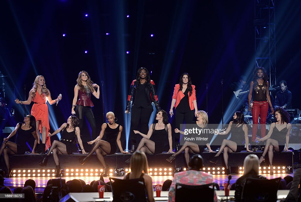 American Idol finalists Janelle Arthur, Angie Miller, Candice Glover, Kree Harrison and Amber Holcomb perform onstage during Fox's 'American Idol 2013' Finale Results Show at Nokia Theatre L.A. Live on May 16, 2013 in Los Angeles, California.