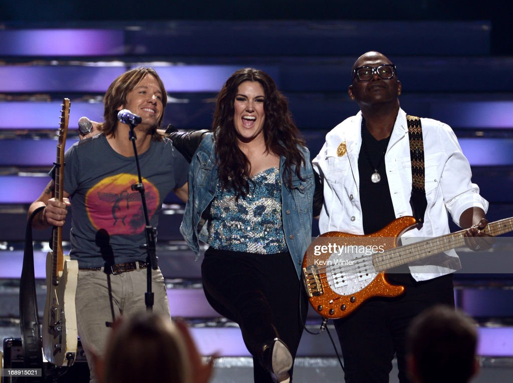 American Idol judge <a gi-track='captionPersonalityLinkClicked' href=/galleries/search?phrase=Keith+Urban&family=editorial&specificpeople=202997 ng-click='$event.stopPropagation()'>Keith Urban</a>, Finalist Kree Harrison and American Idol judge Randy Jackson perform onstage during Fox's 'American Idol 2013' Finale Results Show at Nokia Theatre L.A. Live on May 16, 2013 in Los Angeles, California.