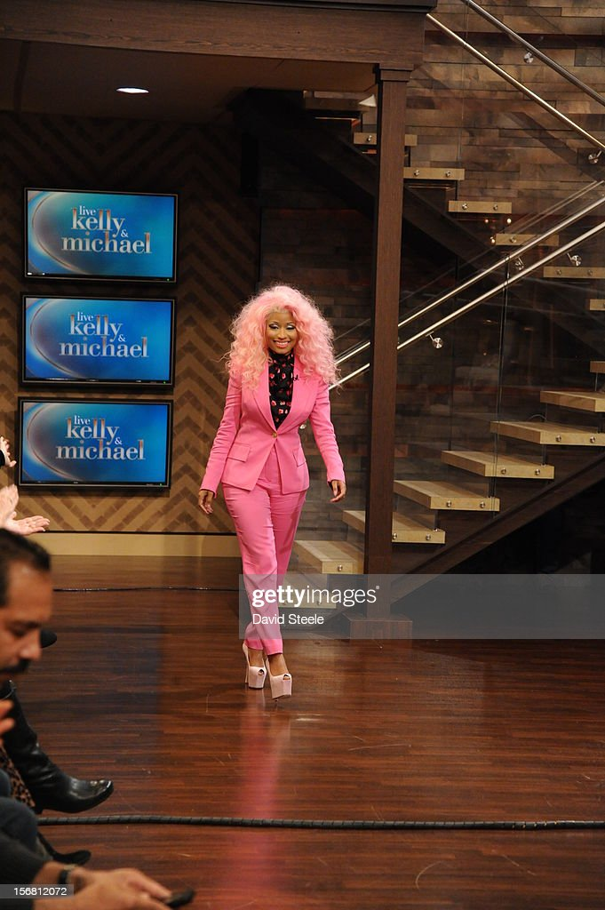 "MICHAEL -11/21/12 - ""American Idol"" judge NICKI MINAJ sits down with Kelly and Michael on the newly-rechristened syndicated talk show, LIVE with Kelly and Michael,' distributed by Disney-ABC Domestic Television. MINAJ"
