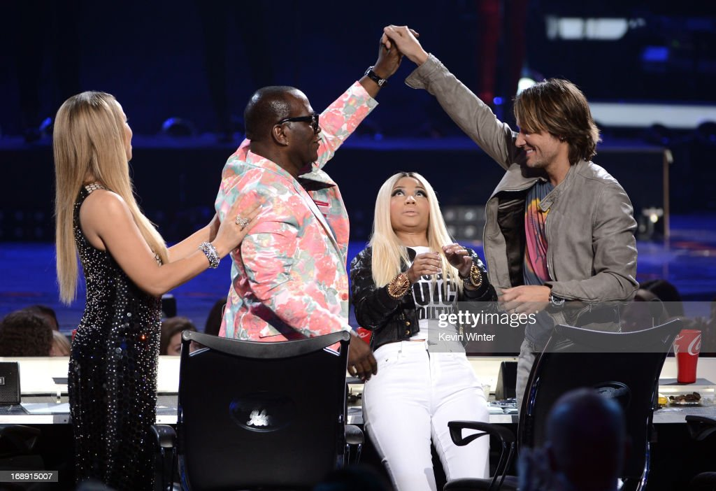 American Idol judges <a gi-track='captionPersonalityLinkClicked' href=/galleries/search?phrase=Mariah+Carey&family=editorial&specificpeople=171647 ng-click='$event.stopPropagation()'>Mariah Carey</a>, Randy Jackson, <a gi-track='captionPersonalityLinkClicked' href=/galleries/search?phrase=Nicki+Minaj+-+Performer&family=editorial&specificpeople=6362705 ng-click='$event.stopPropagation()'>Nicki Minaj</a>, and <a gi-track='captionPersonalityLinkClicked' href=/galleries/search?phrase=Keith+Urban&family=editorial&specificpeople=202997 ng-click='$event.stopPropagation()'>Keith Urban</a> are seen onstage during Fox's 'American Idol 2013' Finale Results Show at Nokia Theatre L.A. Live on May 16, 2013 in Los Angeles, California.