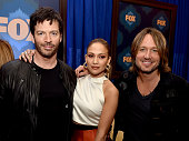 American Idol judges musician Harry Connick Jr singer Jennifer Lopez and musician Keith Urban of American Idol pose at the Fox Winter TCA AllStar...
