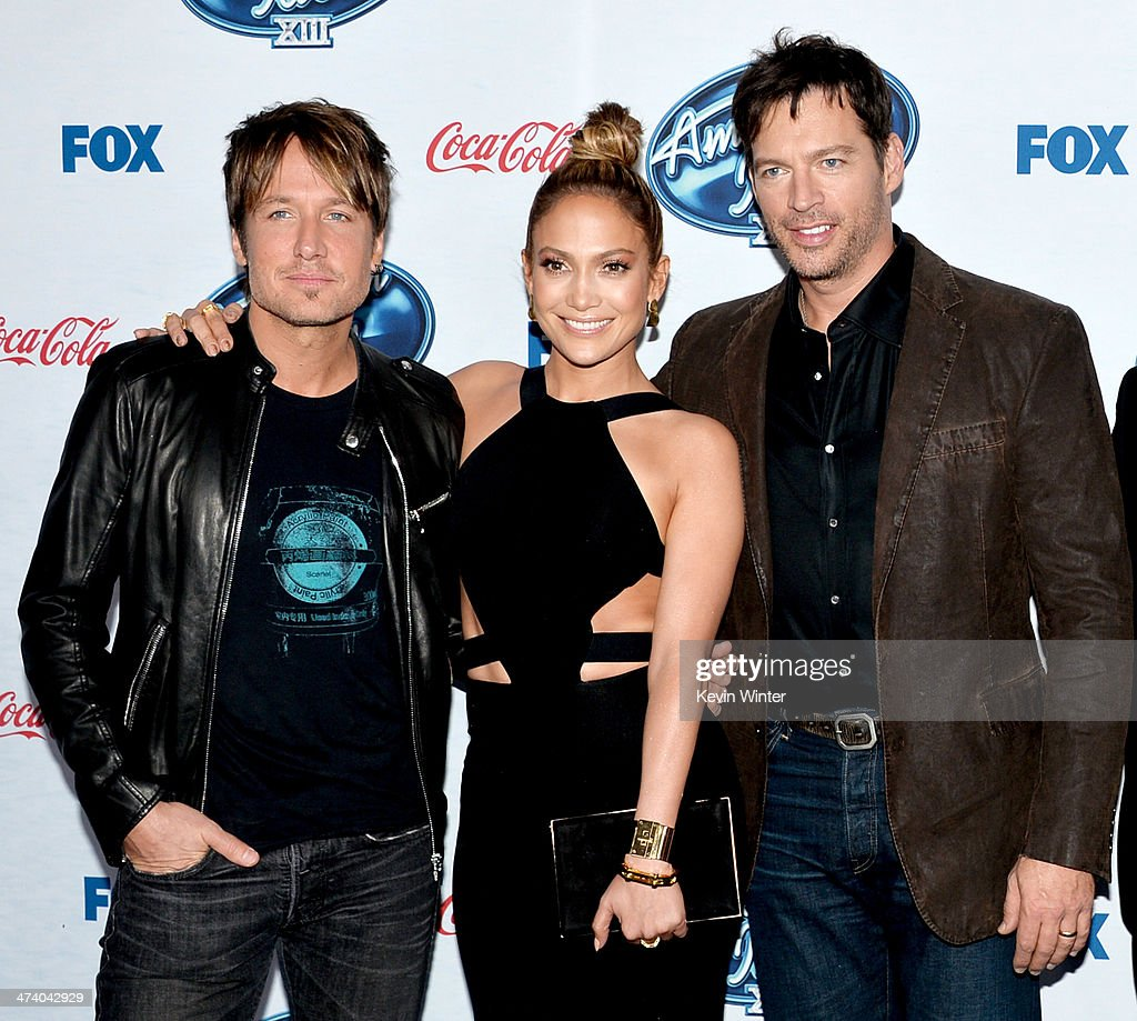 'American Idol' judges musician <a gi-track='captionPersonalityLinkClicked' href=/galleries/search?phrase=Keith+Urban&family=editorial&specificpeople=202997 ng-click='$event.stopPropagation()'>Keith Urban</a>, actress/singer <a gi-track='captionPersonalityLinkClicked' href=/galleries/search?phrase=Jennifer+Lopez&family=editorial&specificpeople=201784 ng-click='$event.stopPropagation()'>Jennifer Lopez</a> and musician <a gi-track='captionPersonalityLinkClicked' href=/galleries/search?phrase=Harry+Connick+Jr&family=editorial&specificpeople=211285 ng-click='$event.stopPropagation()'>Harry Connick Jr</a>. arrive at Fox's 'American Idol Xlll' Finalists Party at Fig and Olive on February 20, 2014 in West Hollywood, California.