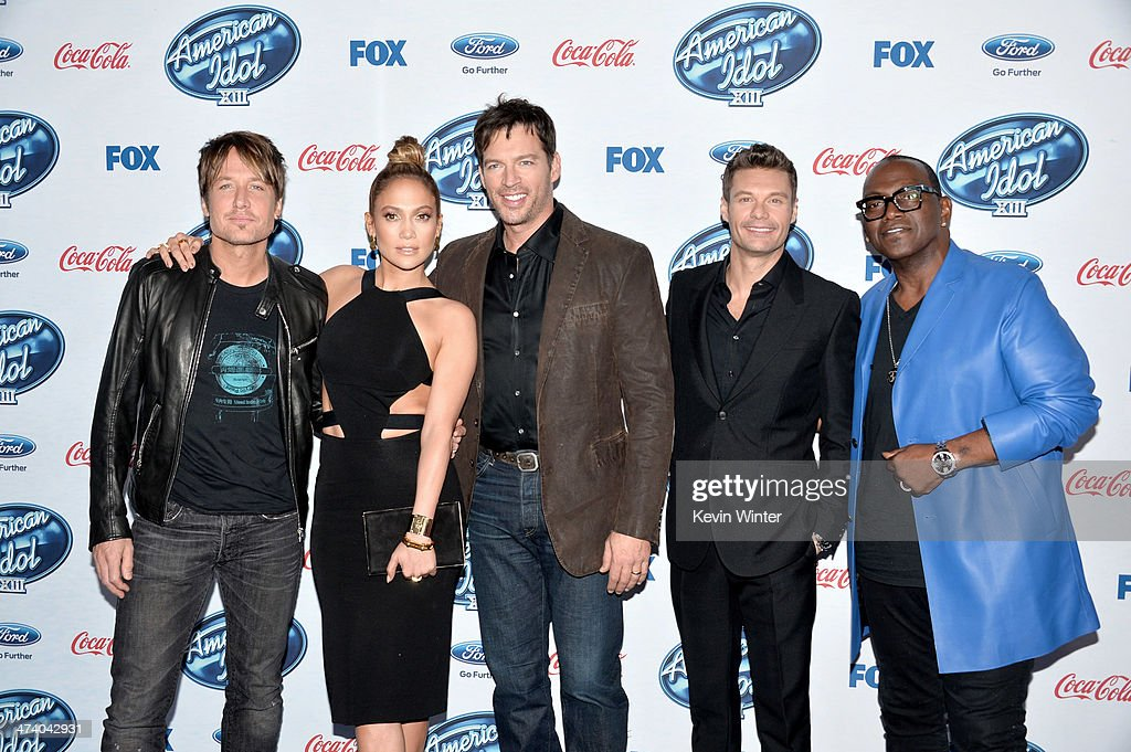 'American Idol' judges musician <a gi-track='captionPersonalityLinkClicked' href=/galleries/search?phrase=Keith+Urban&family=editorial&specificpeople=202997 ng-click='$event.stopPropagation()'>Keith Urban</a>, actress/singer <a gi-track='captionPersonalityLinkClicked' href=/galleries/search?phrase=Jennifer+Lopez&family=editorial&specificpeople=201784 ng-click='$event.stopPropagation()'>Jennifer Lopez</a>, musician <a gi-track='captionPersonalityLinkClicked' href=/galleries/search?phrase=Harry+Connick+Jr&family=editorial&specificpeople=211285 ng-click='$event.stopPropagation()'>Harry Connick Jr</a>., host <a gi-track='captionPersonalityLinkClicked' href=/galleries/search?phrase=Ryan+Seacrest&family=editorial&specificpeople=201694 ng-click='$event.stopPropagation()'>Ryan Seacrest</a> and musician Randy Jackson arrive at Fox's 'American Idol Xlll' Finalists Party at Fig and Olive on February 20, 2014 in West Hollywood, California.